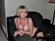 Horny wife enjoys posing when dressed up in her black lingerie
