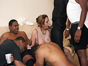 Deepthroating 30 Black Guys In Gangbang Party Then They Fucked Me All