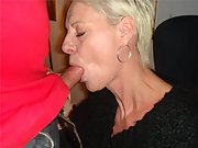 Mature blonde wife gives me a  blowjob on a hot afternoon