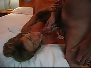 Lusty berunette milf makes her neighbour cum in her mouth many times