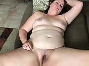 Chubby shows off her asshole and hairy pussy then gets fucked